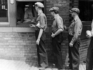 Workers Showing Tags to Enter Gate at Steel Plant by Alfred Eisenstaedt