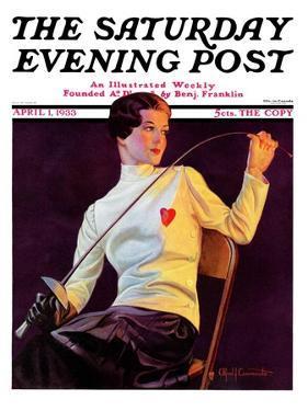 """Female Fencer,"" Saturday Evening Post Cover, April 1, 1933 by Alfred F. Cammarata"