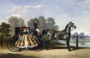 Entering a Coach in a Lakeside Park by Alfred Frank De Prades