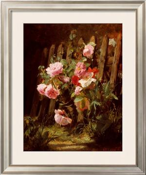 Pink Roses by a Garden Fence by Alfred-Frederic Lauron