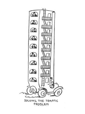 Apartment house style car takes commuters to work. - New Yorker Cartoon by Alfred Frueh
