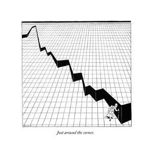 Just around the corner. - New Yorker Cartoon by Alfred Frueh