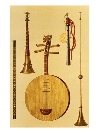 A Dizi, a Sona, a Yueqin, Chinese, Japanese Hichiriki and Chinese Laba, from 'Musical Instruments'