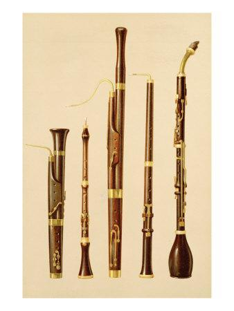 A Dulcian, an Oboe, a Bassoon, an Oboe da Caccia and a Basset Horn, from 'Musical Instruments'