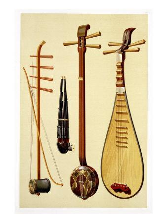 A Huqin and Bow, a Sheng, a Sanxian and a Pipa, Chinese Instruments from 'Musical Instruments'