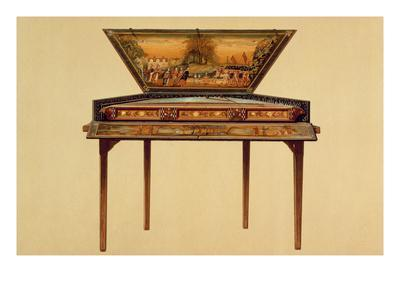 Hammered Dulcimer in a Painted Soundbox, 18th Century, from 'Musical Instruments' (Coloured Litho)
