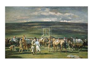 In the Saddling Paddock, March Meet by Alfred James Munnings