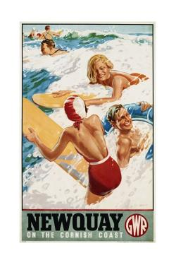 Newquay on the Cornish Coast Poster by Alfred Lambart