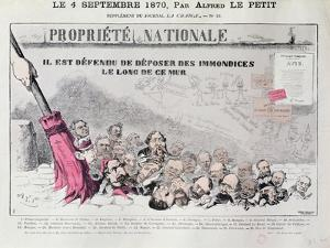 Defense De Deposer Des Immondices Le Long De Ce Mur, Caricature of Second Empire Politicians by Alfred Le Petit