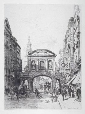 View of the East Side of Temple Bar, London, 1877 by Alfred-Louis Brunet-Debaines
