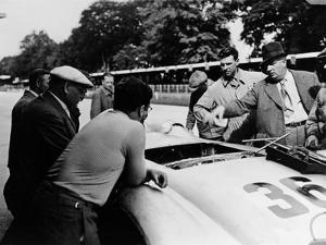 Alfred Neubauer with a Mercedes, Avus Motor Racing Circuit, Berlin, Germany, 1938