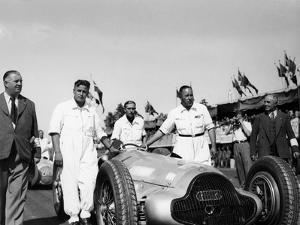 Alfred Neubauer with Mercedes Car at the Start of the Italian Grand Prix, Monza, 1938