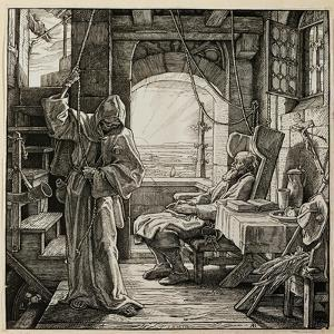 In quiet solitude Death releaves man after his lifes toil. by Alfred Rethel