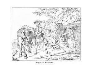 Siegfried, the Dragonslayer, Engraved by J. Dielmann by Alfred Rethel