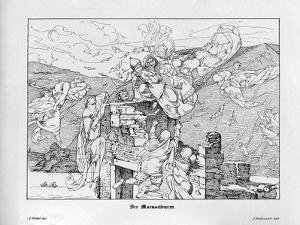 The Mäuseturm, Engraved by J. Dielmann by Alfred Rethel