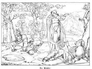 The Two Brothers, Engraved by J. Dielmann by Alfred Rethel