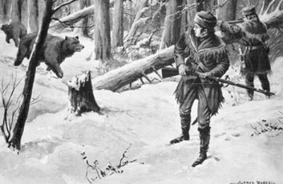 Painting of Lewis and Clark Attacked by Bears