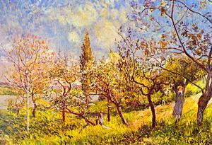 Alfred Sisley An Orchard in Spring Art Print Poster