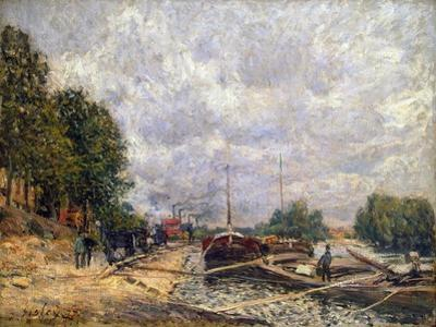 Barges at Billancourt, 1877 by Alfred Sisley