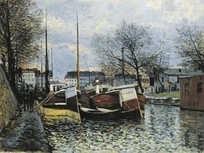 Barges on Canal Saint Martin, 1870 by Alfred Sisley