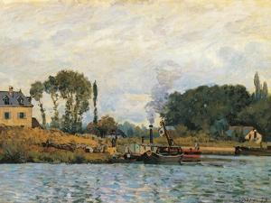 Boats at the Lock at Bougival by Alfred Sisley