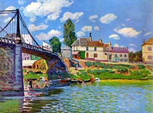 Brucke von Villeneuve La Garenne Bridge by Alfred Sisley