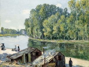 Huts Along the Canal Du Loing, Effect of Sunlight, 1896 by Alfred Sisley