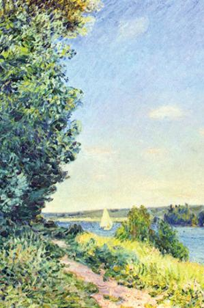 Normandy, Path on the Water, in the Evening at Sahurs by Alfred Sisley
