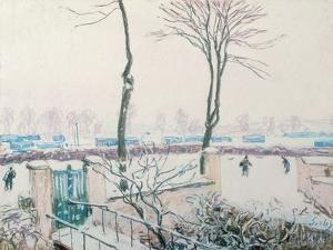 Snow Scene at Moret, C.1894 (Pastel) by Alfred Sisley