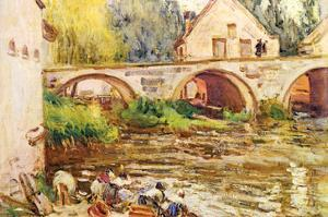 The Laundresses by Moret by Alfred Sisley.Jpg by Alfred Sisley