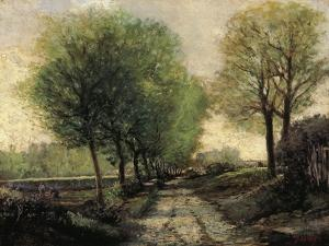 Tree-Lined Avenue in a Small Town, 1865-1867 by Alfred Sisley