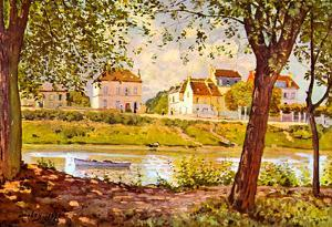 Alfred Sisley Village on the Bank of the Seine Art Print Poster