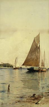 Drying the Sails, Oyster Boats, Patchogue, Long Island by Alfred Thompson Bricher