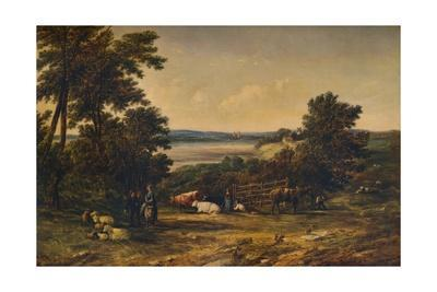 'A Harbour surrounded by Wooded Hills and Meadows with Cattle', 1859, (1938)