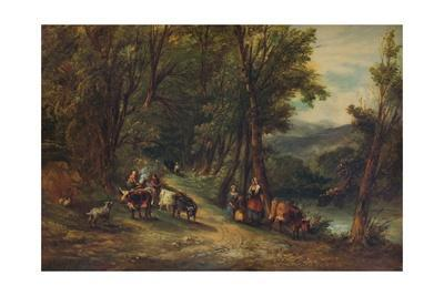 'Cattle and Figures in Wooded Valley with Stream', 1860, (1938)