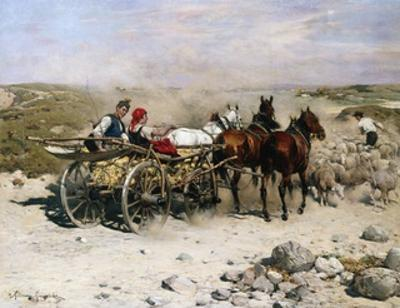 A Haycart, a Shepherd and His Flock on a Country Lane