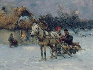 Polish Winter Landscape with Sleds by Alfred von Wierusz-Kowalski