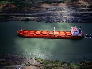 Cargo Ship at Gaillard Cut on the Panama Canal, Near Gamboa, Gamboa, Panama by Alfredo Maiquez