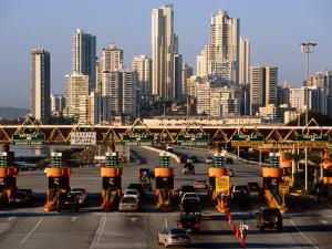 Freeway Toll Gates and Paitilla Skyline, Panama City, Panama by Alfredo Maiquez