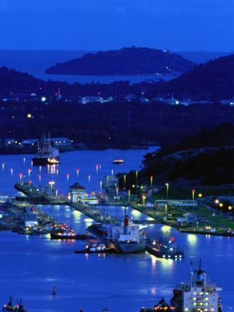 High Angle View of the Miraflora Locks at Dusk, Miraflores Locks, Panama by Alfredo Maiquez