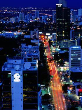 Overhead of Banking Area, Dusk, Panama City, Panama by Alfredo Maiquez
