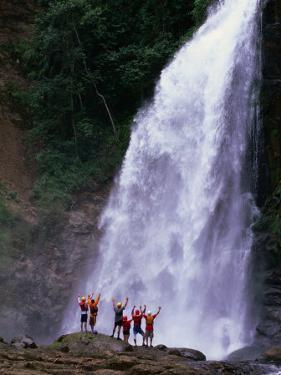 Tourists at Waterfall at Chiriqui Viejo River, Panama by Alfredo Maiquez