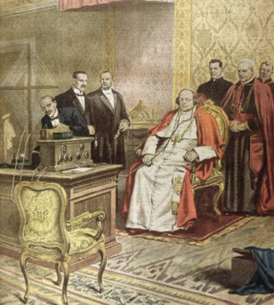 Pope Pius XI Listens to the Radio Broadcast of a Concert