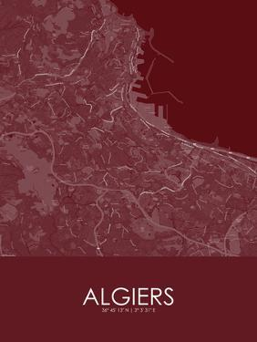 Algiers, Algeria Red Map