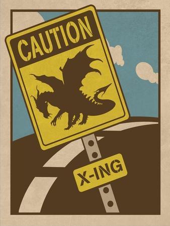 Caution Dragon Crossing