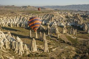 Aerial View of Hot Air Balloons, Cappadocia, Central Anatolia, Turkey by Ali Kabas