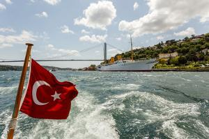 Ataturk's Yacht Savarona, Turkish Flag and Bridge, Istanbul, Turkey by Ali Kabas