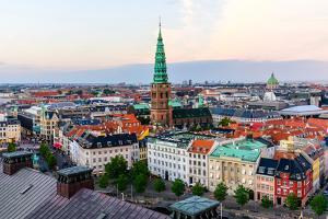 Copenhagen Skyline by Evening. Denmark Capital City Streets and Danish House Roofs. Copenhagen Old by aliaksei kruhlenia