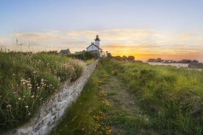 Europe, France, Brittany -Sunset At The Lighthouse Of Pontusval (Brignogan)