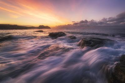 Europe, France, Brittany - Waves Crashing On The Rocks Of The Brittain Coastline During Sunset
